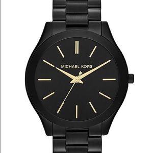 Michael Kors 42mm Runway Black And Gold Witch